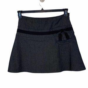 Cynthia Steffe skirt Sz 6 black front bow pocket